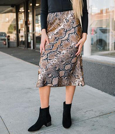 Willow & Root Snake Print Satin Midi Skirt