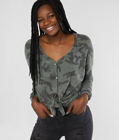 BKE Camo Waffle Knit Top - Special Pricing