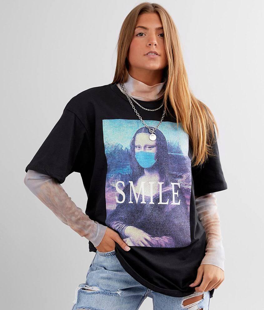Modish Rebel Masked Mona Lisa T-Shirt front view