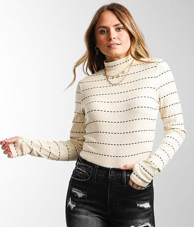 Gilded Intent Striped Mock Neck Top