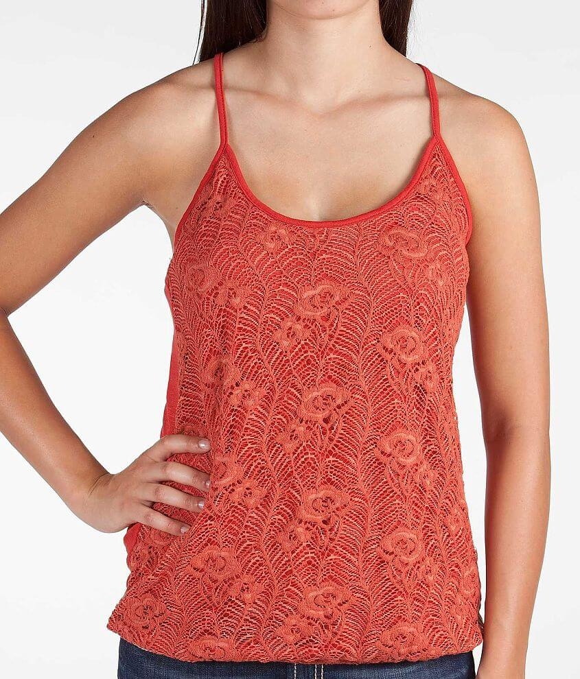 Daytrip Floral Lace Tank Top front view