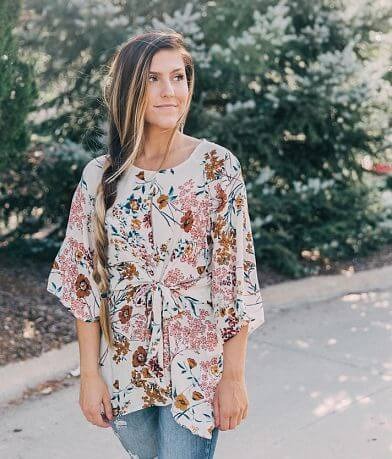 Willow & Root Floral Keyhole Tunic Top