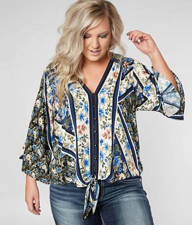Daytrip Floral Striped Blouse - Plus Size Only