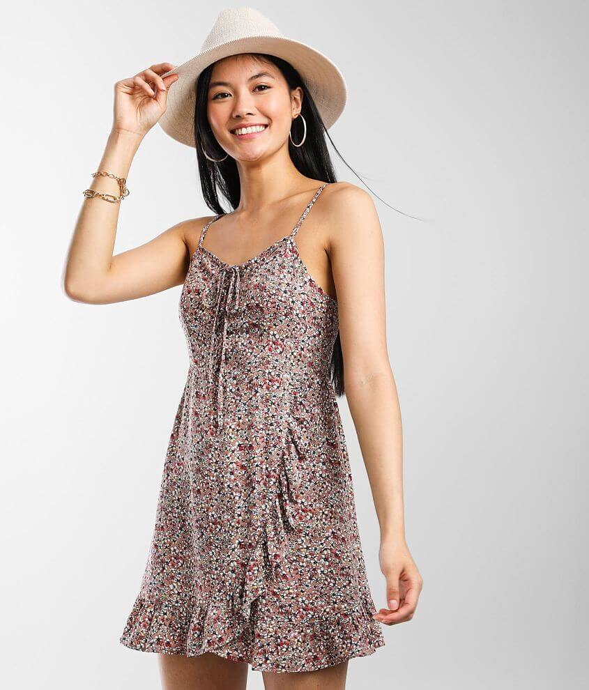 Daytrip Floral Lace-Up Dress front view