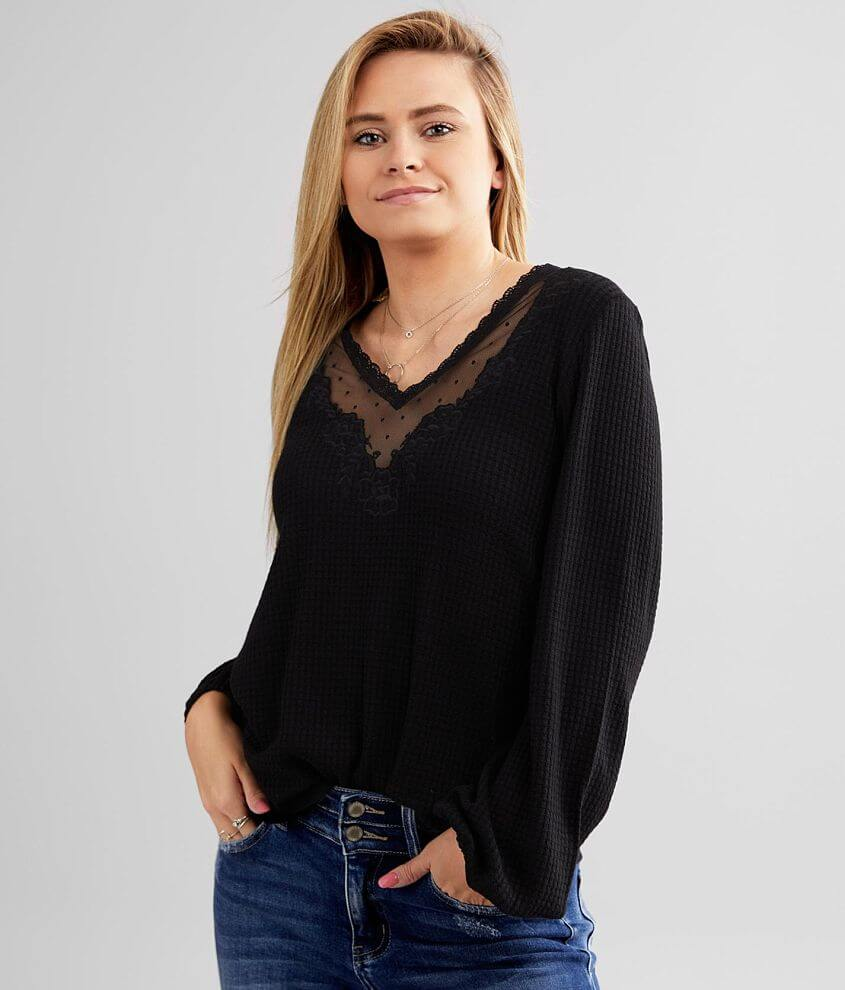 Daytrip Waffle Knit Floral Embroidered Top front view