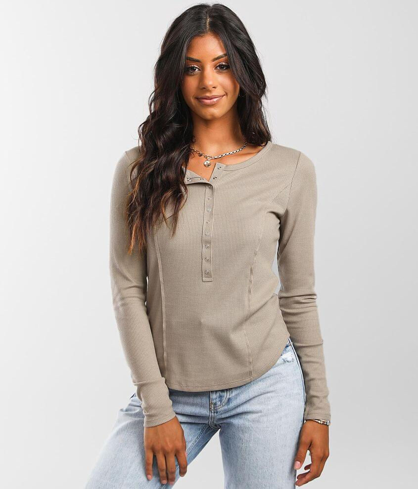 BKE Waffle Knit Henley front view