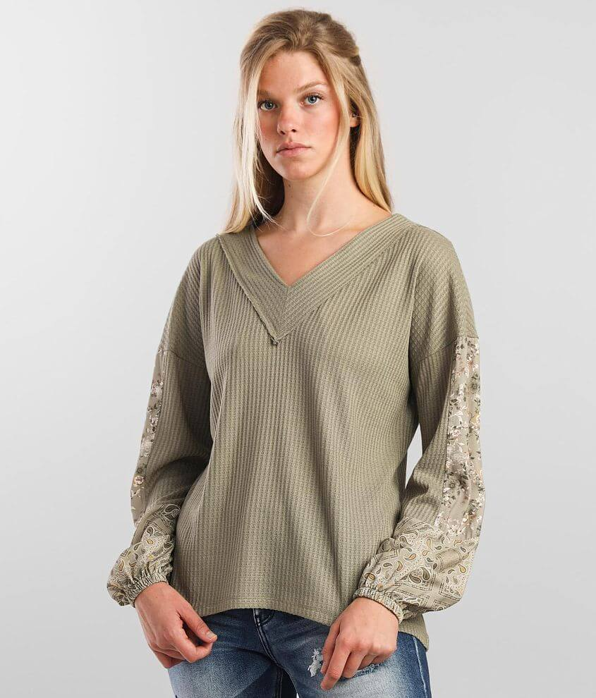 Daytrip Waffle Knit Top front view
