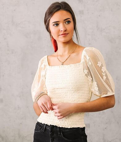 Willow & Root Smocked Floral Lace Top