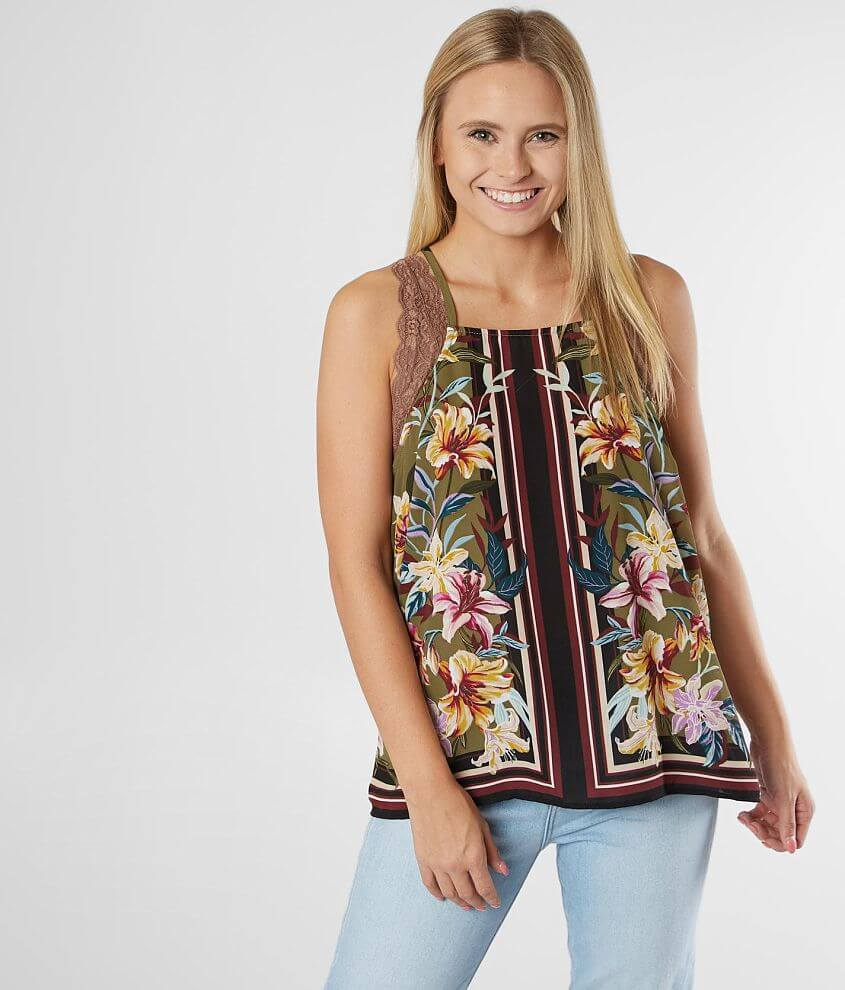 Willow & Root Floral Striped Tank Top front view