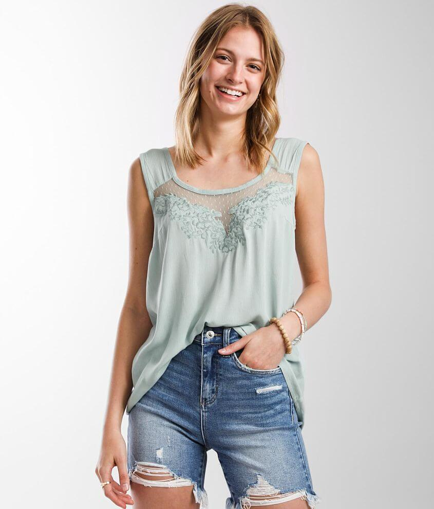 Daytrip Embroidered Mesh Tank Top front view