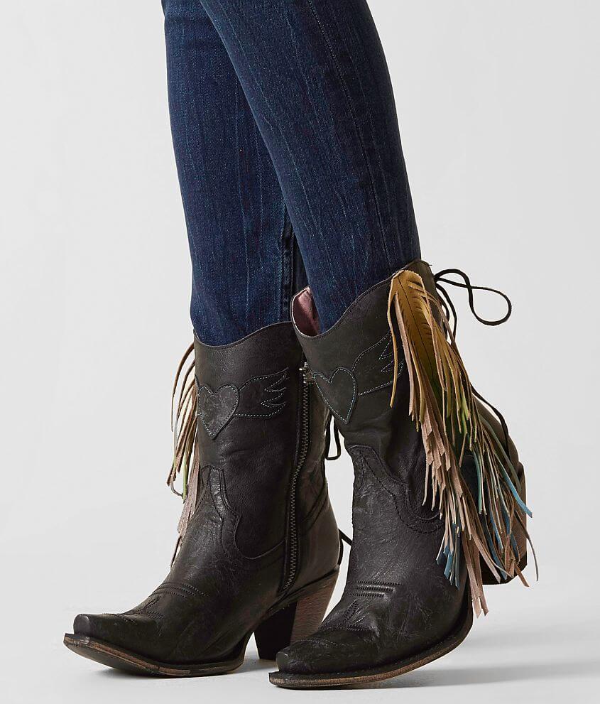 Fringe Short Cowgirl Boots Snip Toe
