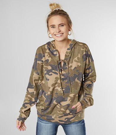 BKE Lace-Up Camo Hoodie