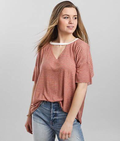 BKE Striped Cut-Out Drop Shoulder T-Shirt