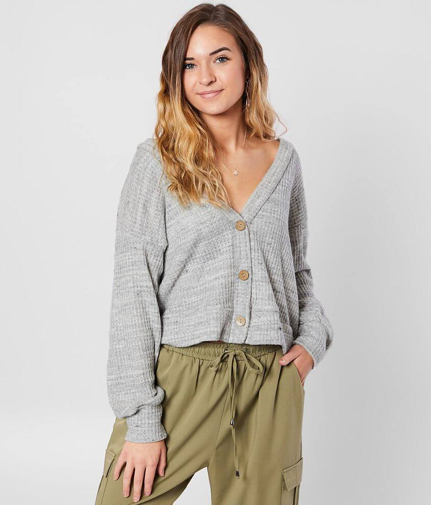 Daytrip Waffle Knit Thermal Cardigan front view
