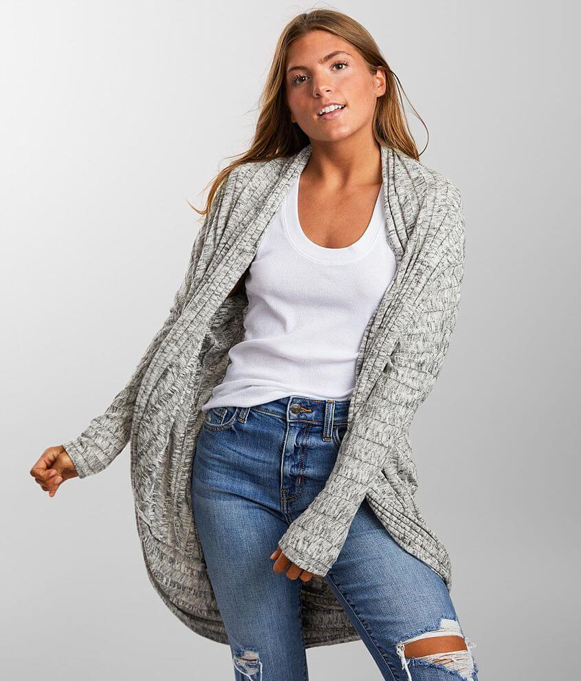 BKE Ribbed Cocoon Dolman Cardigan front view