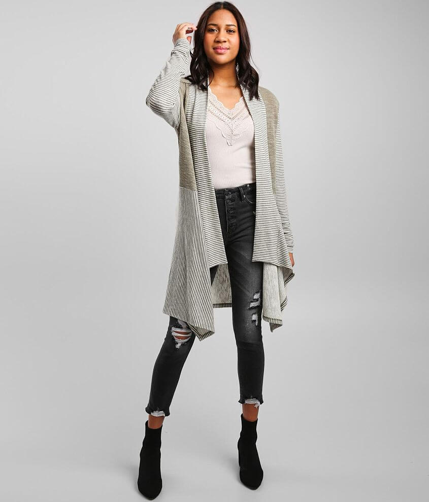 Daytrip Color Block Striped Cardigan front view