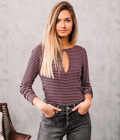 Willow & Root Striped Back Lace-Up Top
