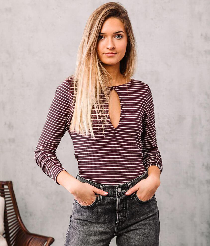Willow & Root Striped Back Lace-Up Top front view