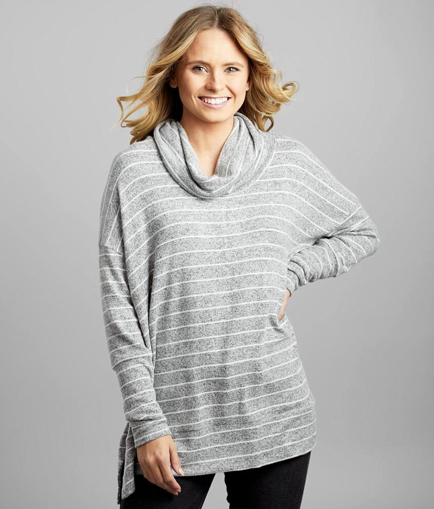 BKE Cowl Neck Striped Pullover front view