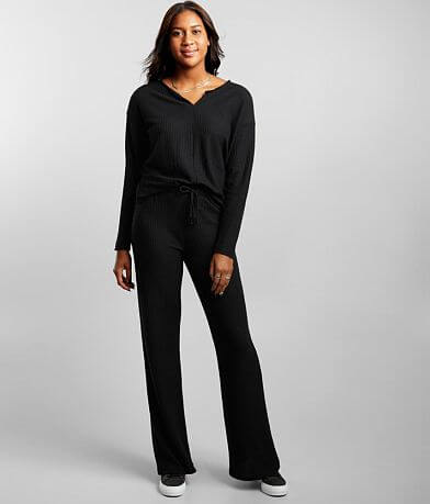 BKE Waffle Thermal Wide Leg Pant