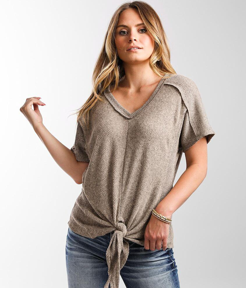 Daytrip Brushed Knit Pieced Top front view