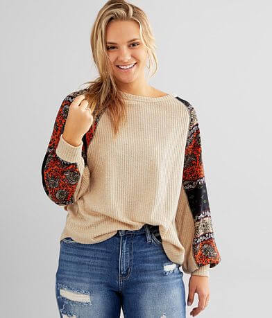 Daytrip Brushed Waffle Knit Twisted V-Back Top