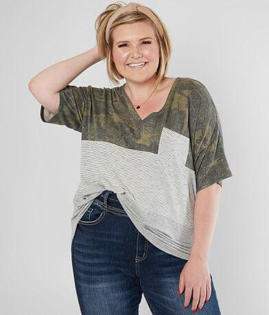 BKE Color Block Camo Top - Plus Size Only
