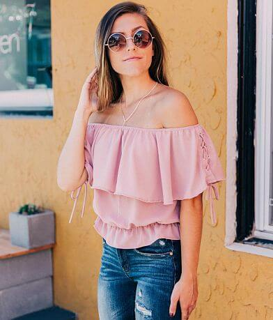 Daytrip Cropped Off The Shoulder Top
