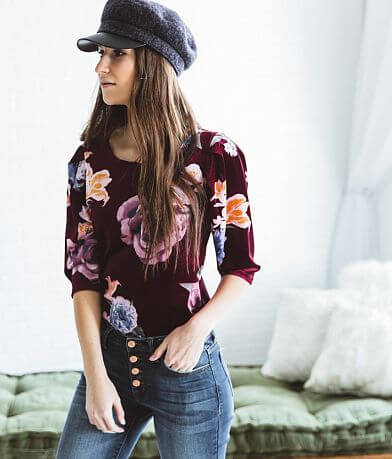 willow & root Floral Velvet Top