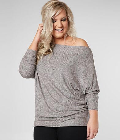 Daytrip Off The Shoulder Sparkle Top - Plus Size