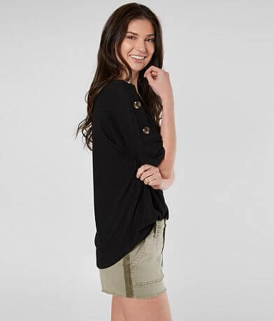 Daytrip Ribbed Button Top