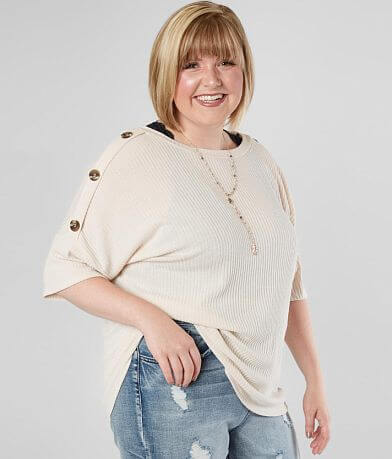 Daytrip Ribbed Button Top - Plus Size Only