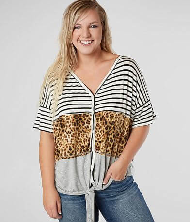 Daytrip Pieced Animal Print Top - Plus Size Only