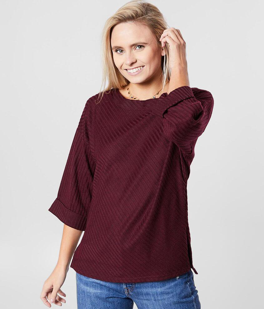 red by BKE Ribbed Boat Neck Top front view