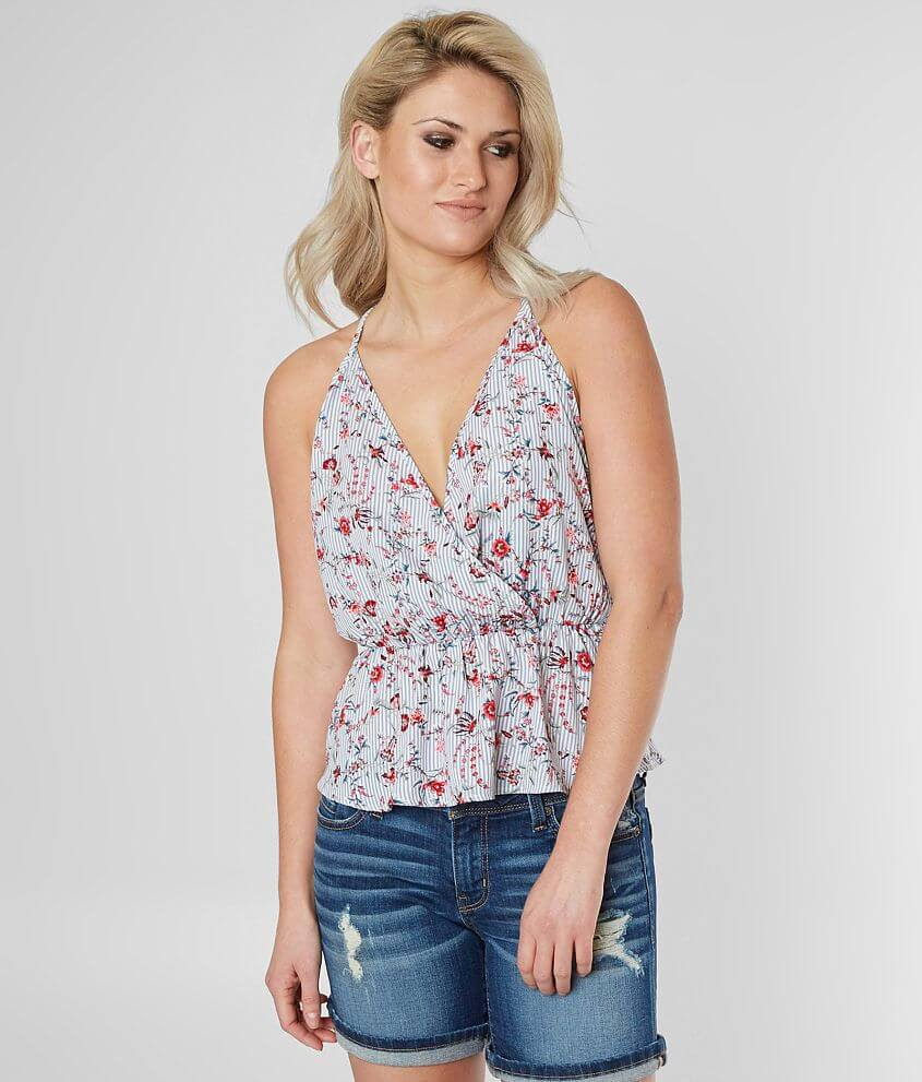 Daytrip Striped Floral Tank Top front view