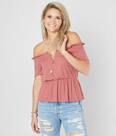 Daytrip Ribbed Off The Shoulder Top