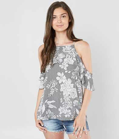 Daytrip Floral Striped Cold Shoulder Top