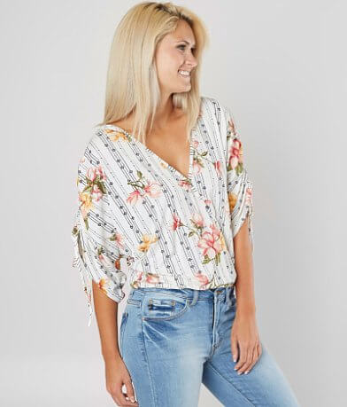 Daytrip Floral Surplice Dolman Top