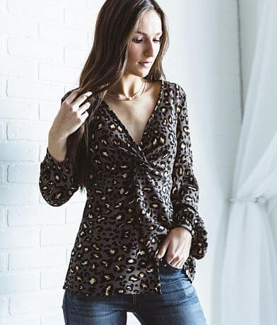 willow & root Leopard Peplum Top