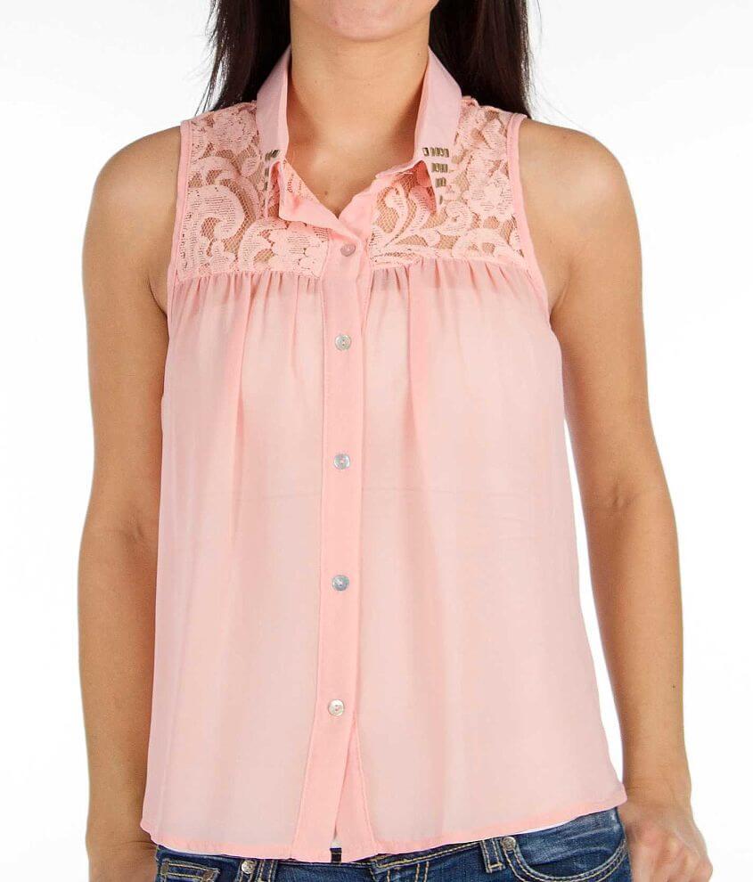 Living Doll Chiffon Sleeveless Shirt front view