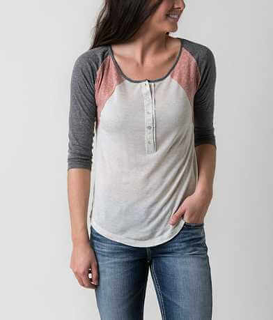 Living Doll Raw Edge Henley Top