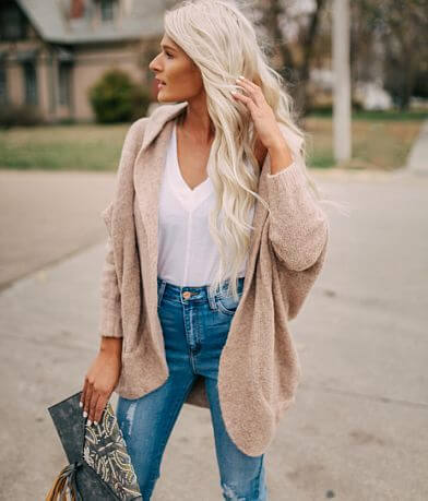 LE LIS Cuddly Hooded Cardigan Sweater