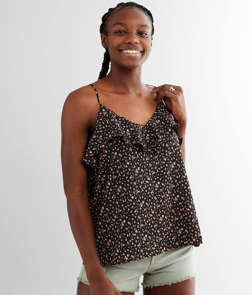 GILLI Dainty Floral Woven V-Neck Tank Top front view