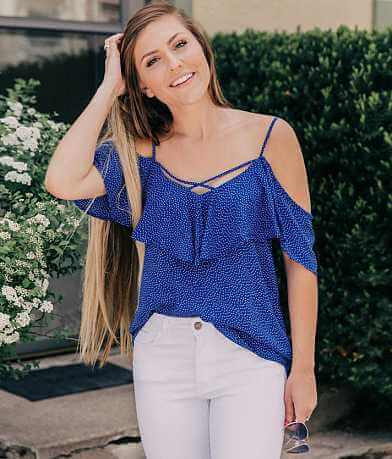 Le Lis Cold Shoulder Ruffle Top