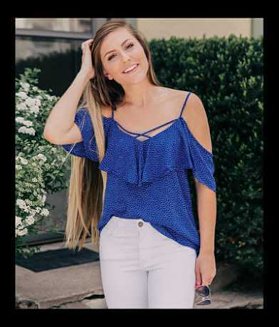 Le Lis Cold Shoulder Ruffle Tank Top