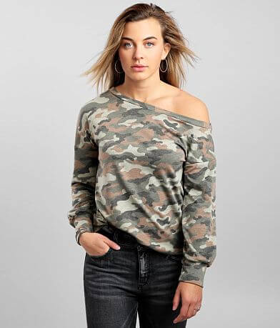 LE LIS Camo Slouchy Off The Shoulder Pullover