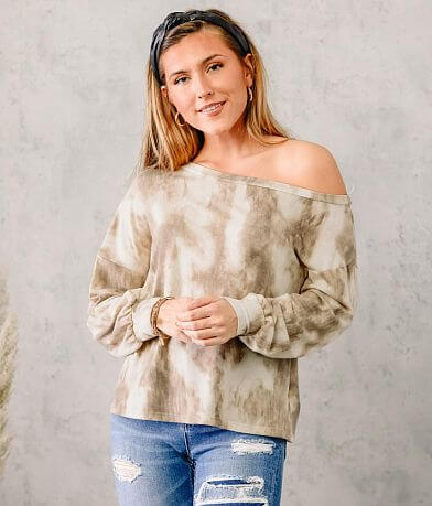 LE LIS Tie Dye Slouchy Off The Shoulder Pullover
