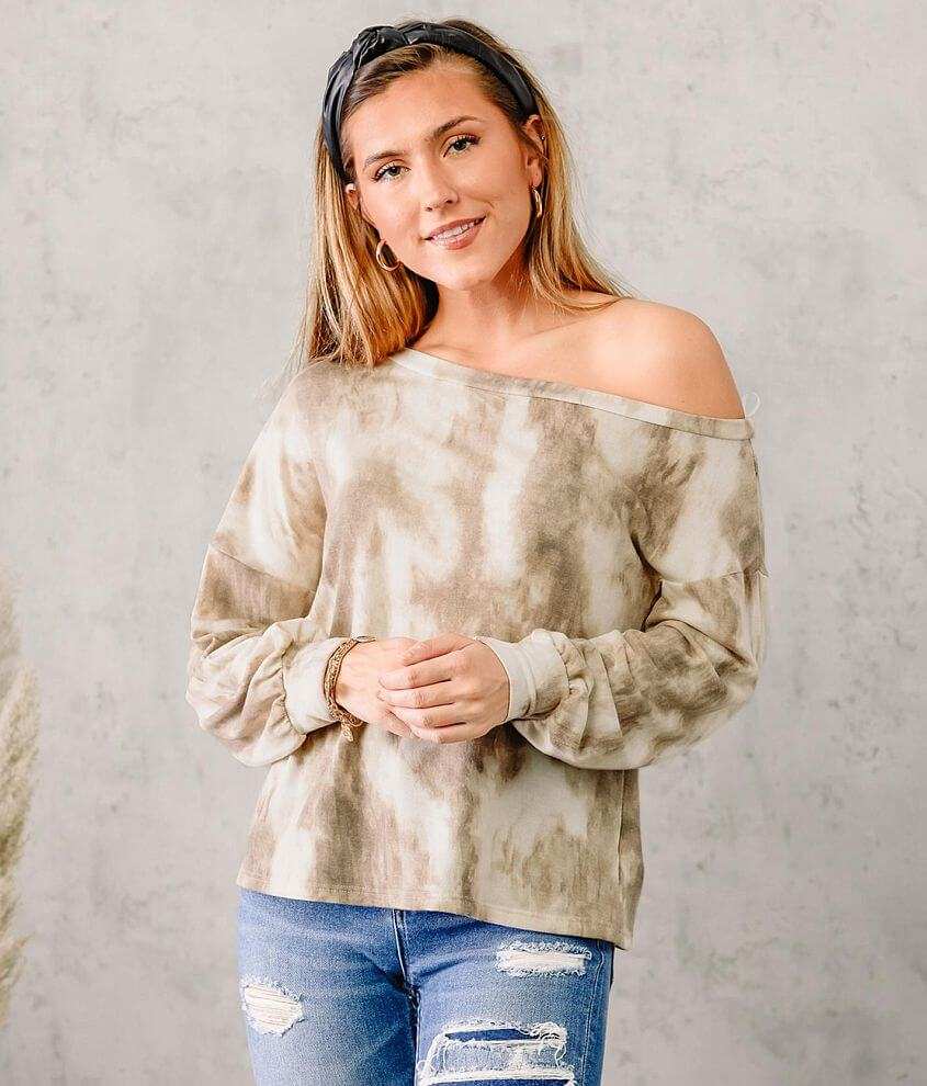 LE LIS Tie Dye Slouchy Off The Shoulder Pullover front view