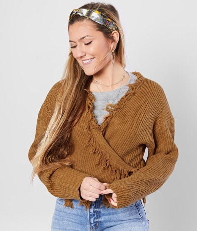 LE LIS Distressed Fringe Cropped Cardigan Sweater