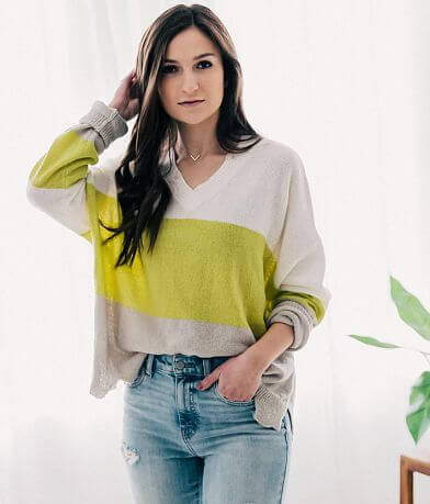 LE LIS Striped Open Weave Sweater